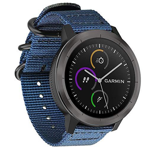 Fintie Armband für Garmin Vivoactive 3 / Vivomove HR / Vivoactive 3 Music / Forerunner 245 /645 Music Smartwatch - Nylon Uhrenarmband verstellbares Ersatzband mit Edelstahlschnallen, Marineblau