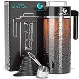 Coffee Gator Cold Brew Kaffeemaschine - BPA-freier Filter und Glaskaraffe - Brühsatz mit Edelstahl-Messlöffel und klappbarem Einfülltrichter - 1,4 Liter - Schwarz
