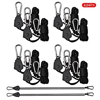 Awhao 1Pair 1/8 Inch Long Adjustable Rope Ratchet Hanger,Fully Adjustable And Locking For Hooks LED ,Plant Growth Lamp etc (4)