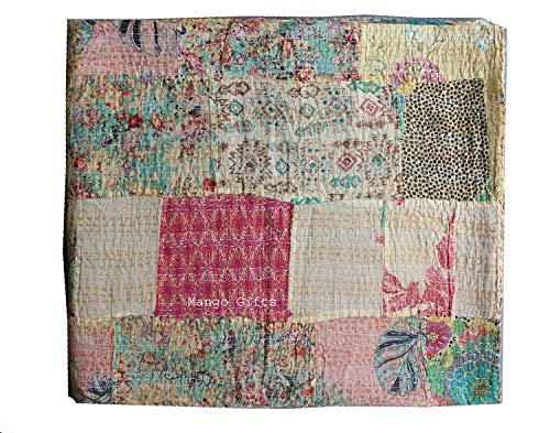Asian-queen-size-quilt (Tribal asiatischen Textilien Banjara handgefertigt Patchwork Kantha Quilt Handmade Kantha Quilt Überwurf Queen Size ajrakh Tagesdecke ajrakh Block Print Kantha Tagesdecke)