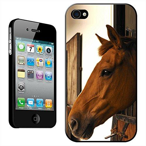 Fancy a snuggle Coque arrière rigide clipsable pour Apple iPhone Motif tête de cheval, plastique, Horse In A Stable, iPhone 4/4s