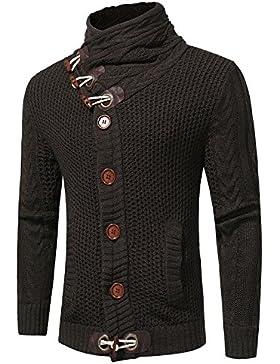 Spesso fuori della maglietta maglione uomo elegante bold twist prendere un mock-collo di spessore Sau, grigio...