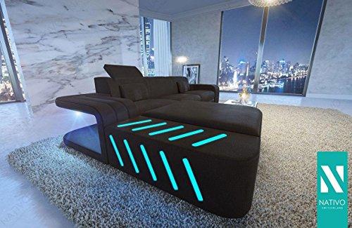 Stoffsofa Designer Wohnlandschaft SPACE MINI mit LED Beleuchtung von NATIVO© Ecksofa Stoff L Form