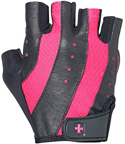 Harbinger Damen Pro Gewichtheben Handschuhe mit belüftet Gepolsterte Leder Palm (Paar), schwarz/pink, Medium