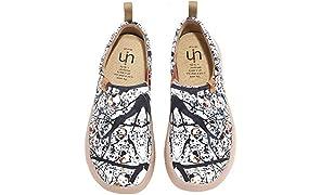 UIN Canvas Schuhe Damen Slip On, Modell Art Bemalte Granatapfel, Weiß