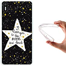 WoowCase - Funda Gel Flexible { bq Aquaris X5 } Estrellas Frase - I Love You To The Moon And Back Carcasa Case Silicona TPU Suave