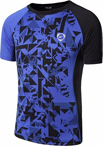 Jeansian Uomo Moda Formazione Squadra Sportivo Casuale Palestra Fashion Tee T-Shirts Camicie LSL193 Blue