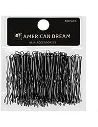 SUEÑO AMERICANO Paquete de 100 x horquillas - negro - ondulado - 2,5 pulgadas/6:35 cm de largo, 1 paquete (1 x 124 g)