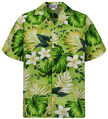 Hawaiihemd Hawaiishirt original made in Hawaii, Größe S, grün (70's Disco Kostüm Plus Größe)