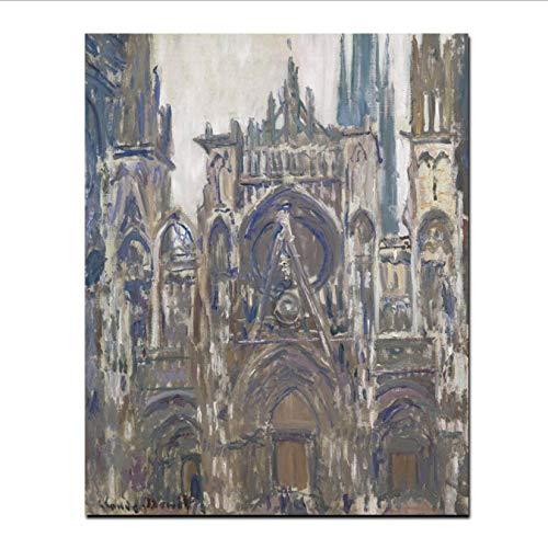 DPFRY Toile Photos HD Imprimer Claude Monet Notre Dame De Paris Paysage Peinture À l'huile sur Toile Art Affiche Impressionniste Mur Photo pour Salon 40X60 Cm sans Cadre
