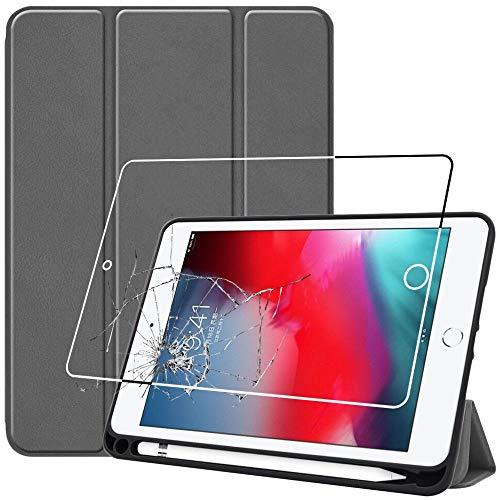 ebestStar - kompatibel iPad Mini Hülle iPad Mini 2019 (Mini 5), Mini 4 2015 Smart Cover [Ultra Dünn] Schutzhülle Etui Ständer Case, Grau + Panzerglas Schutzfolie [iPad: 203.2 x 134.8 x 6.1mm, 7.9'']