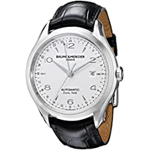 Baume e Mercier Clifton Dual tempo Argento Quadrante Nero Alligatore In pelle Mens Orologio m0 a10112