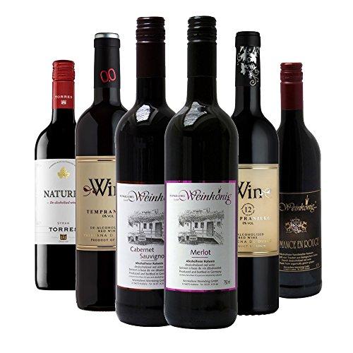 Alkoholfreie Rotweine im Probierpaket, Premium Kollektion Qualitätsweine Rot ohne Alkohol - (6 x 0,75L)