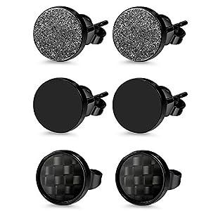Herren Damen 3 Paare Edelstahl Ohrstecker Set schwarz, OIDEA Punk Rock vintage rund Creolen Ohrringe Set Huggie Piercing Ohr Stecker Durchmesser 6mm 8mm 10mm