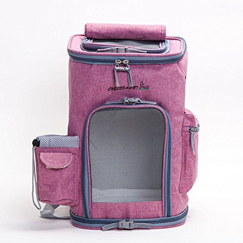 Maxmer Hunde Rucksack Katze Transsporttasche Faltbar Oxford Tuch/ Atmungsaktiv Netzfenster/ Soft-seitig/ 3-Öffnen für Hunde,Welpen, Katzen usw. (Lila/Blau/Grau) (Pink)