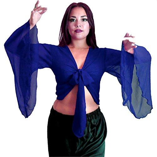 Bauchtanz Choli Winged Arm Top Tribal Gypsy Kostüm UK Größe 12-24 - bis XXXL (18-24, KÖNIGSBLAU)