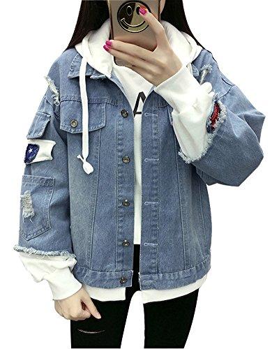 Minetom Damen Mädchen Beiläufig Stilvoll Bestickt Rose Gewaschene Jeans Denim Jeansjacke Jacket Oberbekleidung Coats Mantel C Hellblau DE 38