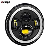 #10: Casago Harley Style LED Head Lights with Full Round Ring with Halo Angle Eye Projector for Royal Enfield Classic 350 (7-inch, Hi/Lo Beam) Pack of 1
