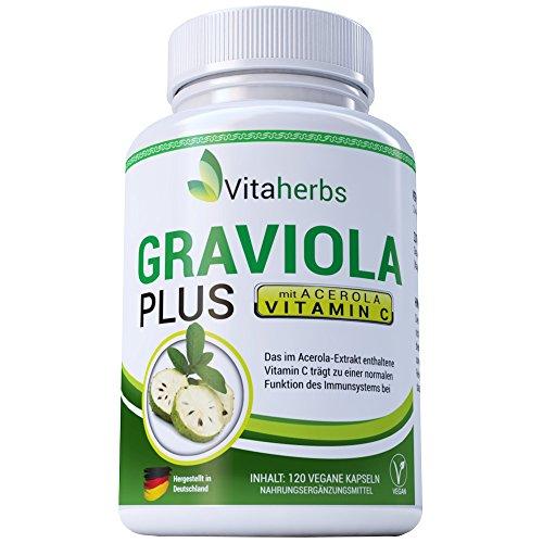 Vitaherbs Graviola PLUS pur und natürlich ohne Füllstoffe und Trennmittel – Graviola-Pulver mit Vitamin C aus Acerola 500mg 120 Kapeln - Guanabana Sauersack