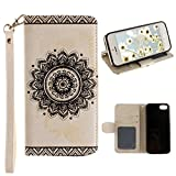 iPhone SE Schutzhülle Leder Case, iPhone 5S Hülle Mandala, iPhone 5 Bumper Hülle Mandala, Moon mood® Ledertasche für Apple iPhone 5S/SE/5 (4.0 Zoll) , PU Leder Cover Hülle Folio Handyhülle Scratch Relief Mandala Design Bumper Tasche Backcover Handytasche Stand Etui im BookStyle mit Standfunktion Karteneinschub und Magnetverschluß Flip Case mit Weich TPU Innere Etui für iPhone SE