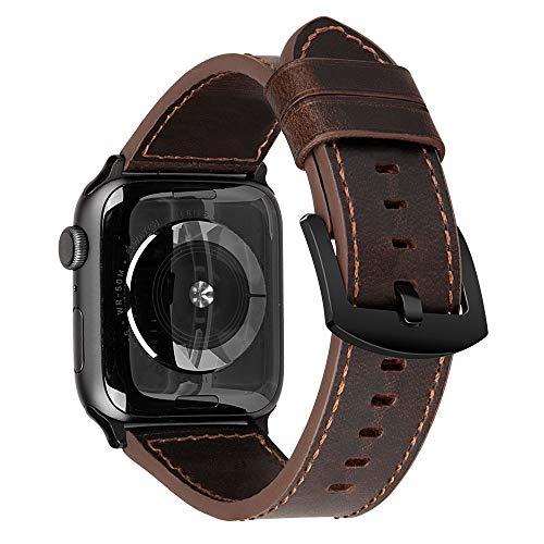 iBazal Lederarmband Ersatz für iWatch Series 4 Armband 44mm Leder 42mm Series 3 2 1 Lederband Uhrenarmband Armbänder Ersatzarmband Uhrarmband Watchband Ersatzband Uhr Band - Schokoladen-Kaffee 42/44 - Armband Schokolade