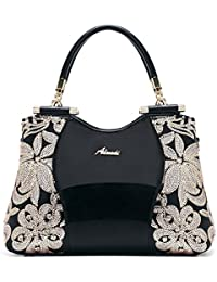 ec25e295ee6b G-AVERIL Patent Leather Lady Shoulder Bag Tote Bag Medium For Women With  Sequin Flower