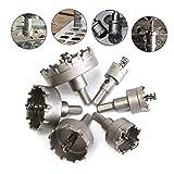 HSS-Lochsägen-Set, 4EVERHOPE 6 Stück/Satz Zahn Cutter Bohrer Hartmetallspitze TCT Core Metallbearbeitung Cutter Tool Lochöffner, 22-65mm