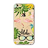 Cover iPhone 6/6S,MUTOUREN Silicone case Ultra Trasparente Crystal TPU Cover AntiUrto [Shock Absorbing] Angoli Rinforzati Custodia per iPhone 6/6S Rosa Flamingo design con banana sunglass ananas green foglia di albero immagine
