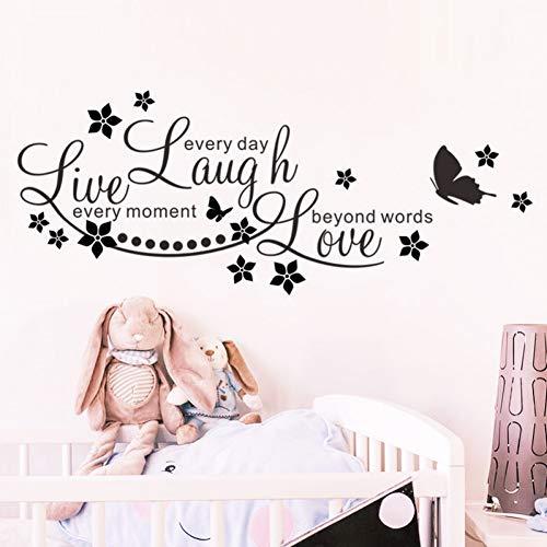 QTBHTZ Wandaufkleber Leben lachen Liebe Butterfly Star wandaufkleber abziehbilder inspirierende Zitate Wohnzimmer Schlafzimmer Dekoration Poster DIY wandbild Kunst (Leben, Lieben, Lachen Bilderrahmen)