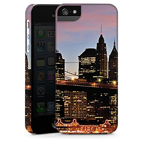 Apple iPhone X Silikon Hülle Case Schutzhülle New York Night Brücke Stadt Premium Case StandUp