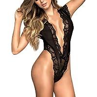 ZODOF Moda Mujer Sexy Encaje con Cuello en v Tentación Racy Ropa de Dormir Negro Sissy LingerieMujer Lencería Sexy Mini Vestido Sin Espalda
