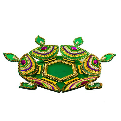 Handicraft-3-Dimensional-Acrylic-Rangoli-and-Diya-Stand-with-LED-tealight-Jewel-Stone-Decorations-of-Red-Green-PurpleBlueWhite-Golden-Accents-on-Back-Packed-in-Sturdy-Bag