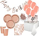KPW XXL 57 Teile Party Deko Set Rose Gold Glanz für 8 Personen - Roségold
