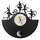 Die Tänzerin tänzt Ballett Geschenkidee, Vinyl Schallplatten- Uhr mit Pendel, Schwarz, Vinyluse original
