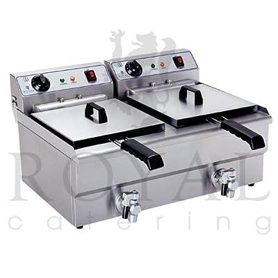 Royal Catering - RCEF-13DH - Double Friteuse électrique de 2x13 litres - 100 % acier inox - 2 x 3,2 kW de Royal Catering