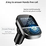 ZYX Bluetooth KFZ-Ladegerät FM Wireless Transmitter MP3 5V 3.1A Dual-USB-Kfz-Ladegerät mit MP3-Modulator Leichter Auto-Ladegerät,Black
