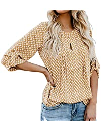 Impreso Tops de Mujer,Honestyi T-Shirt de Manga de Siete Cuartos Camiseta de Casual Suelto Camisa de Verano Blusa de Manga cortaCamisola Abrigo Sudadera con Capucha Chaleco