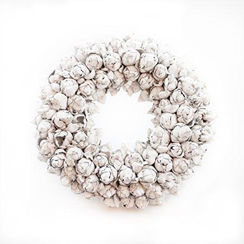 Naturkranz Deko-Kranz groß Ø 25cm in weiß, gefertigt aus Kokos-Früchten. Türkranz zum hängen oder als Tischdekoration im Shabby chic Design, zeitloses Wohnaccessoires als Natur-Deco von Glaskönig