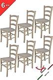 Tommychairs - 6er Set Stühle Venice, Robuste Struktur aus lackiertem Buchenholz in der Anilinfarbe Hellgrau und Sitzfläche mit Stoff in der Farbe Gämse bezogen. Set Bestehend aus 6 Stühlen Venice