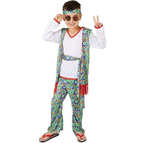 stüm Hippieboy | Coole, fetzige Weste mit Hippiemuster | Farbenfrohe Schlaghose auch mit Hippiemuster | Inkl. Haarband und Bindegürtel (7-8 Jahre) (Sexy Boy Halloween Kostüme)