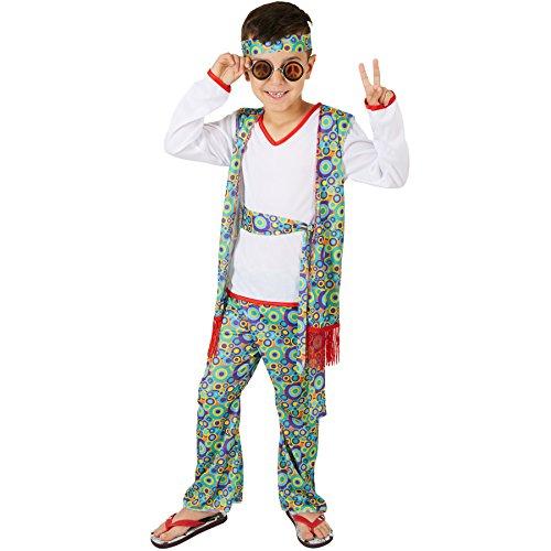 Jungenkostüm Hippieboy | Coole, fetzige Weste mit Hippiemuster | Farbenfrohe Schlaghose auch mit Hippiemuster | Inkl. Haarband und Bindegürtel (13-14 (Kostüme 60er Für Frauen Jahre)