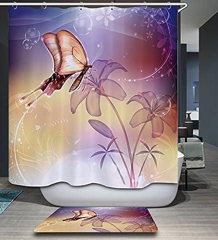 Kisy Papillon Violet magique Fleur Tissu Rideau de douche de bain anti Moule hydrofuge à séchage rapide 180cm x 180cm pour salle de bain avec 12crochets de