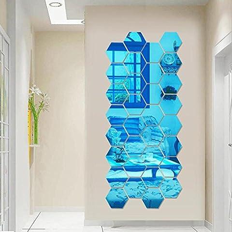 Diamantförmiger Spiegelaufkleber Schlafzimmer Wohnzimmer Sofa TV Kulisse Wand Dreidimensional Wasserdicht 5 Farben 2 Größen 12 Stk , blue , 10*10cm