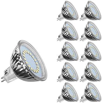 LE 3.5W MR16 GU5.3 Lot de 10 Ampoule LED, 50W Ampoule Halogène Équivalent, 12V CC Seulement, 280lm, Lumière du Jour, 6000K, 120° Larges Faisceaux, Ampoule LED GU5.3, Culot GU5.3