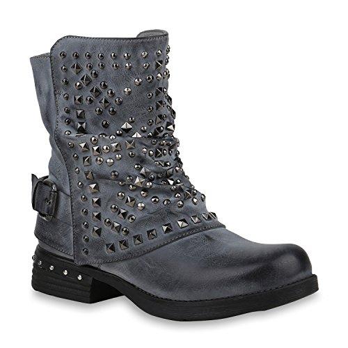 Stiefelparadies Damen Schuhe Biker Boots Warm Gefütterte Stiefel Nieten Stiefeletten 153009 Grau Blau 39 Flandell