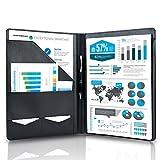 Arrace Schreibmappe A4 aus hochwertigem Kunstleder - Professionelle Konferenzmappe in edlem Design inkl. Schreibblock - Dünne und leichte Arbeitsmappe