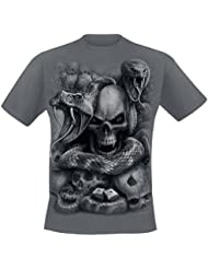 Spiral T-shirt pour homme Motif yeux de serpent Noir/gris anthracite
