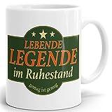 Drucksaal - Tasse mit Spruch Lebende Legende Ruhestand Bedruckter hochglänzender Kaffeebecher Kaffeetasse weiß 1 Stck.