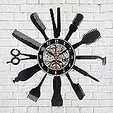 Creative Vinyle Horloge CD Record Art Horloge Murale Salon de Coiffure Barbier Outils Conception Horloge