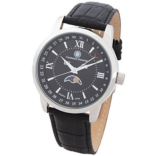 Constantin Durmont Men's Quartz Watch Analogue Display and Leather Strap CD-CALE-QZ-LT-STST-BK